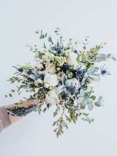 20 Gorgeous Winter Wedding Bouquets EmmaLovesWeddings is part of Green wedding bouquet - There's no bride without a bouquet! Every wedding theme and style usually supposes that a bride would carry a bouquet, so it's high time to Blue Wedding Flowers, Flower Bouquet Wedding, Wedding Colors, Wedding Blue, Boquette Flowers, Bouquet Of Flowers, Irish Wedding, Wedding Rustic, Something Blue Wedding
