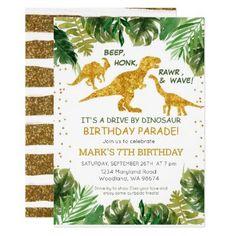 Dinosaur Drive By Birthday Parade Invitation Dinosaur Birthday Invitations, Free Printable Birthday Invitations, Girl Dinosaur Birthday, 5th Birthday, Party Stores, Party Shop, Printable Business Cards, The Good Dinosaur, Happy Party
