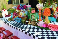 Incredible table at an Alice in Wonderland girl birthday party! See more party planning ideas at CatchMyParty.com!