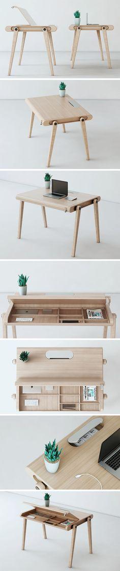 A Desk with Many Secrets! Folding Furniture, Cool Furniture, Furniture Design, Wood Table Design, Stand Up Desk, Secret Rooms, Modern Desk, Home Office Design, Woodworking Projects Plans