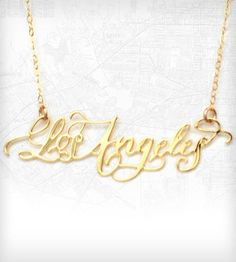 Los Angeles Necklace - Gold | Sprinkle a little LA love into your life with this gold-dipped... | Necklaces