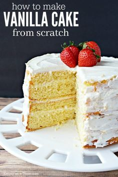 Learn how to make a vanilla cake from scratch! This homemade vanilla cake recipe from scratch is so easy. Vanilla cake from scratch is so better than a mix. An easy birthday cake that everyone will love! Homemade Cake Mixes, Homemade Pound Cake, Homemade Vanilla Cake, Moist Vanilla Cake, Vanilla Cake Mixes, Vanilla Recipes, Perfect Vanilla Cake Recipe, Vanilla Cake From Scratch, Cake Recipes From Scratch