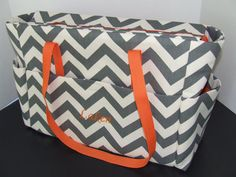 Tote/Diaper bag in large chevron print in gray by tandmhandmade