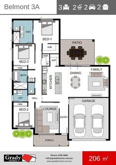 Belmont 3 Floor Plan - Grady Homes - Townsville Builder plans australian Home Design Floor Plans, My Home Design, Home Design Decor, Plan Design, House Floor Plans, House Design, 3 Bedroom Plan, Bedroom House Plans, House Plans One Story