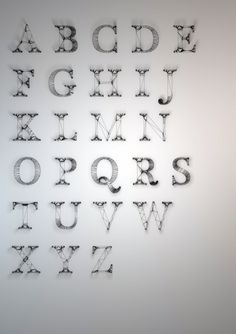 Dan Hoopert Wire Typography | Hoopert re-created the alphabet with virtual wire, showing an otherwise simple serif typeface in a complex and intricate way. Basically, this is how your letter looks naked.