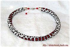 Rot Milch Schlangenhaut Muster Perle häkeln Seil von Shinkabeads