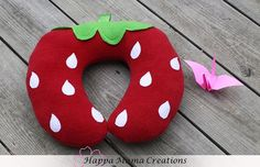 Strawberry Travel Neck Pillow for Kids by HappaMamaCreations, $15.00