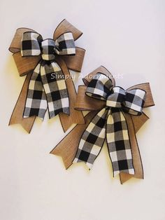Black White Buffalo Plaid Sparkle Burlap Bow Black White Buffalo Check Christmas Wreath Bow Black White Check Flannel Bow Cabin Check Bow - How to make a bow with ribbon - Plaid Christmas, Rustic Christmas, White Christmas, Christmas Wreaths, Christmas Ornaments, Christmas Movies, Burlap Christmas Crafts, Christmas Tree Cake, Mickey Christmas