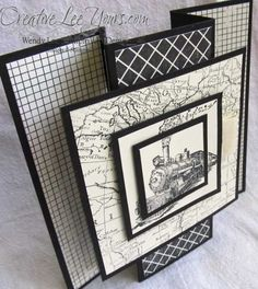 hand crafted card: Standing traveler card ... black and white ... patterned papers ... steam engine ... lots of layers ... great for display ... Stampin' Up!