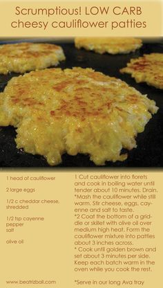 Low Carb Cauliflower Patties | Scrumptious LOW CARB RECIPE !! Easy cheesy cauliflower patties.  www.PersonalTrainerBradenton.com