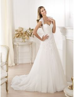 Tulle and Lace Sweetheart Neckline Wedding Dress with Cap Sleeves PS0009 - Bridal Gowns - RainingBlossoms