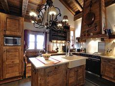 design cuisine chalet vieux bois   Mountain chalets   Pinterest