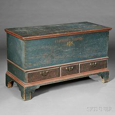 "Painted Dower Chest.  Pennsylvania late 18th century.  30"" H. x 48"" W. x 21"" D."
