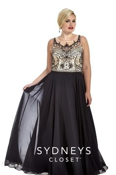 Sydneys Closet SC7177 Plus Size Illusion Prom Dress- Style SC7177 from Sydney's Closet is a plus size A-line formal chiffon gown with a sleeveless sweetheart and scoop neckline on illusion bodice, natural waist, full skirt, and elaborate jeweled pattern on bodice.