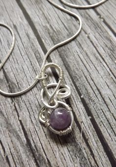 Sterling Silver and Amethyst Wire Wrapped Necklace Handmade FREE SHIPPING by DesignsbyLaurenRose on Etsy https://www.etsy.com/listing/203657799/sterling-silver-and-amethyst-wire