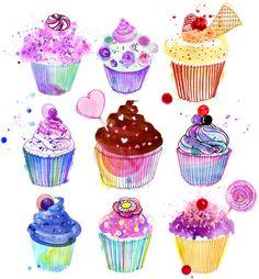 Margaret Berg Art: Birthday+Cupcakes