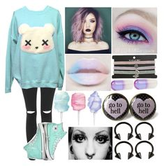 A fashion look from November 2017 featuring oversized sweatshirt, stretchy jeans and goth jewelry. Browse and shop related looks. Ddlg Outfits, Cute Emo Outfits, Scene Outfits, Grunge Outfits, Pastel Punk, Pastel Goth Fashion, Kawaii Fashion, Gothic Fashion, Pastel Goth Clothes