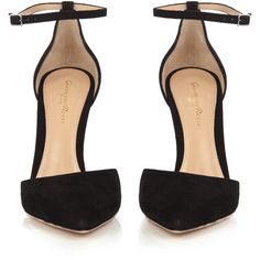 Gianvito Rossi Camoscio point-toe suede pumps ($795) ❤ liked on Polyvore featuring shoes, pumps, black ankle strap pumps, black pointy-toe pumps, suede pointed toe pumps, block heel shoes and black block heel pumps