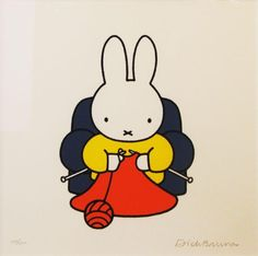 My daughter had a Miffy picture on her bedroom wall when she was little. I wish I had known there was a knitting Miffy. My daughter's Miffy was flying a kite. Knitting Quotes, Knitting Humor, Knitting Bags, Illustrations Vintage, Knit Art, Miffy, Book Cover Design, Cute Illustration, Crochet Yarn