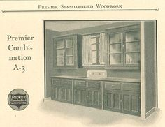 Kitchen cabinetry with sink, from Premier Standardized Woodwork catalog, circa 1920's.