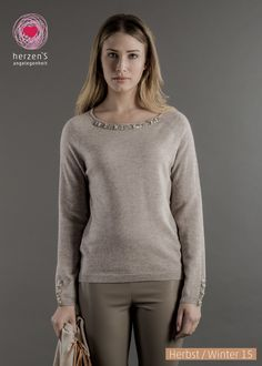 6153-1200 this delicate pullover has jewels attached matching your dress code. the perfect basic for all occasions #cashmere pullover #cashmere #herzensangelegenheit #herzens #winterfashion