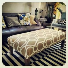 custom upholstered ottoman 24x48x16 high custom orders by HAWThome, $450.00