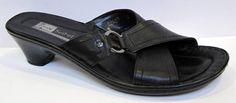 Josef Seibel 'Demi' Black Leather Slide Size 41/US 9 #JosefSeibel #Slides