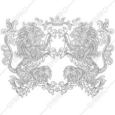 Heraldic Lion Crest Coloring Page. Adult by ColoringPageExpress