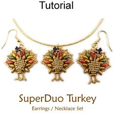 Beaded SuperDuo Two Hole Bead Tom Turkey Pilgrim Thanksgiving Earrings Necklace Jewelry Making Tutorial Pattern by Simple Bead Patterns | Simple Bead Patterns