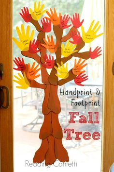 A handprint and footprint tree is a fun way for the family to create a fall bucket list.