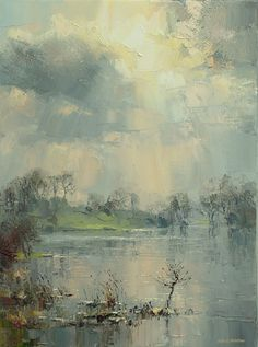 'Sunlight Through the Clouds, Loughrigg Tarn, Lake District' by Rex Preston. Part of his two man exhibition with Mark Preston, opening at gallerytop on 3 October 2015