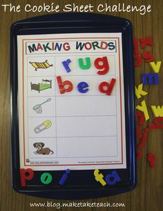 """Use magnetic letters to physically make simple cvc words ("""",)"""