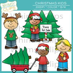 The Christmas kids clip art set contains 16 image files, which includes 8 color images and 8 black & white images in both png and jpg. All images are 300dpi for better scaling and printing. $