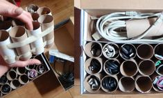 cable organizer with toilet paper rolls