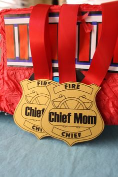 Fire Chief Gold and Red Badges for Firetruck Inspired Birthday Diy Party Games, Diy Party Decorations, Baby Shower Decorations, Party Ideas, Third Birthday, Birthday Diy, Birthday Party Themes, Fireman Birthday, Fireman Party