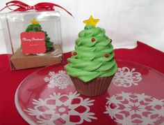 Christmas Tree Soap Cupcake by myluckydragon on Etsy, $10.00