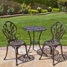 Best Choice Products Outdoor Patio Furniture Tulip Design Cast Aluminum Bistro Set in Antique Copper. Our 3 piece bistro set is the perfect furniture set for your patio, balcony, front or back yard. It comes with an attractive tulip design in an antique copper finish. Simple yet elegant bistro set that is great for outdoor brunches or an afternoon tea in your front porch or any outdoor area in your home. The bistro set comes with (2) beautiful flower designed chairs and one equally...