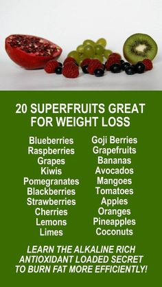 20 Superfruits Great For Weight Loss. Amplify the effects by infusing with alkaline rich Kangen Water; the hydrogen rich, antioxidant loaded, ionized water that neutralizes free radicals that cause oxidative stress which allows your body to perform at an optimal level every day. Increase energy, boost stamina, improve recovery time, burn fat, and lose weight more efficiently. Change your water, change your life. LEARN MORE #Health #WeightLoss #FatBurning #Foods #Fruits