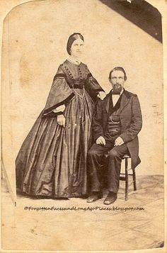 Forgotten Faces and Long Ago Places: Fashionable Friday - Civil War Era Couple - Early 1860's CDV