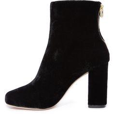 Joie Saleema Booties (€140) ❤ liked on Polyvore featuring shoes, boots, ankle booties, joie booties, open back boots, joie, zipper booties and velvet boots