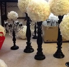 31 Ideas For Party Table Centerpieces Diy Dollar Stores Flower Ball Flower Ball Centerpiece, Party Table Centerpieces, Decoration Table, Black Centerpieces, Homemade Centerpieces, Topiary Centerpieces, Centerpiece Ideas, Tall Flowers, Paint Flowers
