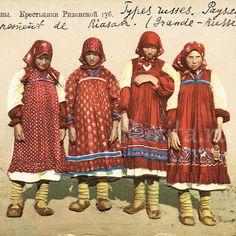 Крестьянки Рязанской губернии. Русский народный костюм, 1914 г.