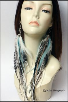 Long Feather Earrings Turquoise White Feather by featherswholesale, $150.00