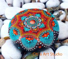 Jewel Mandala Hand-painted by OtisArtStudio Dot Art Painting, Mandala Painting, Painting Patterns, Mandala Art, Stone Painting, Mandala Design, Mandala Painted Rocks, Mandala Rocks, Hand Painted Rocks