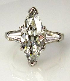 1930..Vintage Estate 4ct Classic Marquise Cut Engagement Ring