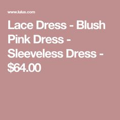 Lace Dress - Blush Pink Dress - Sleeveless Dress - $64.00