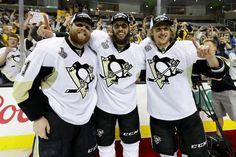 HBK line....JUNE 12: Phil Kessel #81, Nick Bonino #13 and Carl Hagelin #62 of the Pittsburgh Penguins celebrate after their 3-1 victory to win the Stanley Cup against the San Jose Sharks in Game Six of the 2016 NHL Stanley Cup Final