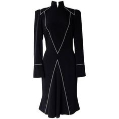 Preowned Thierry Mugler Couture Silk Streamline Military Dress ($1,500) ❤ liked on Polyvore featuring dresses, multiple, vintage couture dresses, fitted tops, military dress, vintage collar dress and vintage silk dress