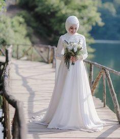 muslim wedding gowns with hijab Muslim Wedding Gown, Muslim Wedding Dresses, Muslim Brides, Wedding Hijab, Wedding Bride, Wedding Gowns, Bridesmaid Dresses, Bridal Hijab, Bridal Gowns