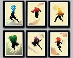Avengers Inspired Minimalist Movie Poster Set - Delux Mini Set  - 6 Prints - 8.5 X 11 Inch - Home Decor #ad
